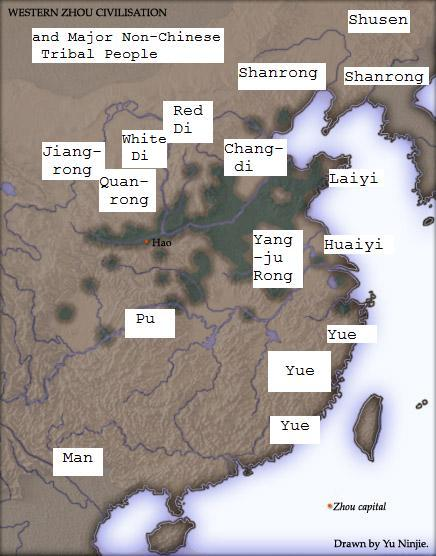 East asian barbarians during the zhou dynasty 1046 350 bce map of western zhou dynasty realms barbarians sciox Gallery